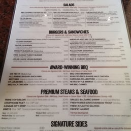 Homestead steakhouse menu