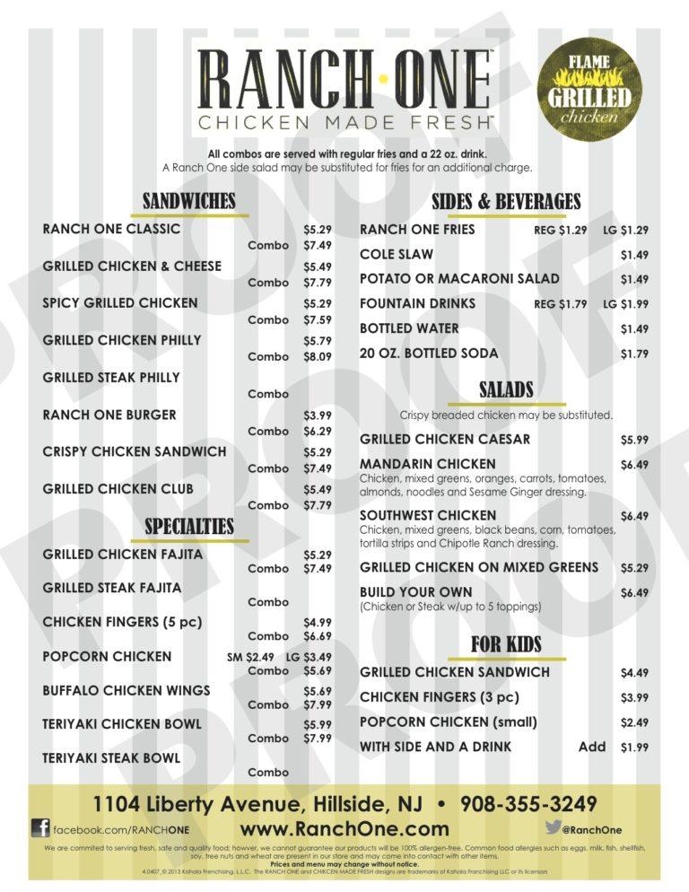 Ranch one menu