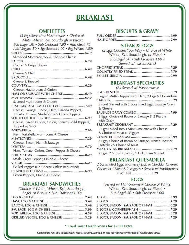 Union street diner menu