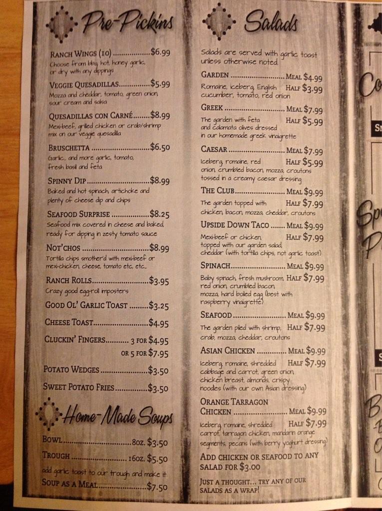 The ranch restaurant menu
